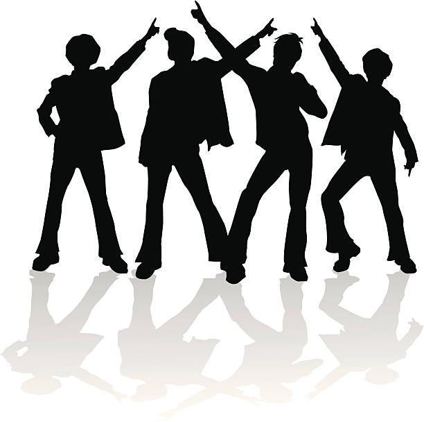 Disco! Four male silhouettes of figures from the 70's in classic disco positions... kinda like a 70's disco boy band with four John Travoltas. nightlife stock illustrations
