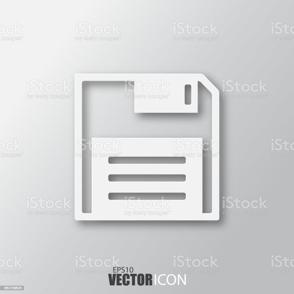 Diskette icon in white style with shadow isolated on grey background. royalty-free diskette icon in white style with shadow isolated on grey background stock vector art & more images of abstract