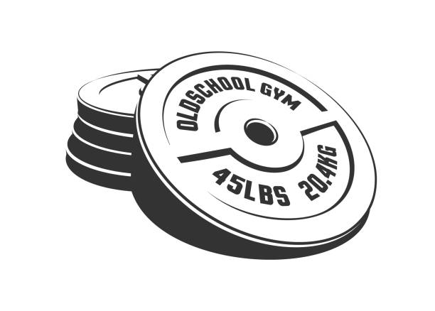 Bекторная иллюстрация Disks for a heavy weight barbell in a stack