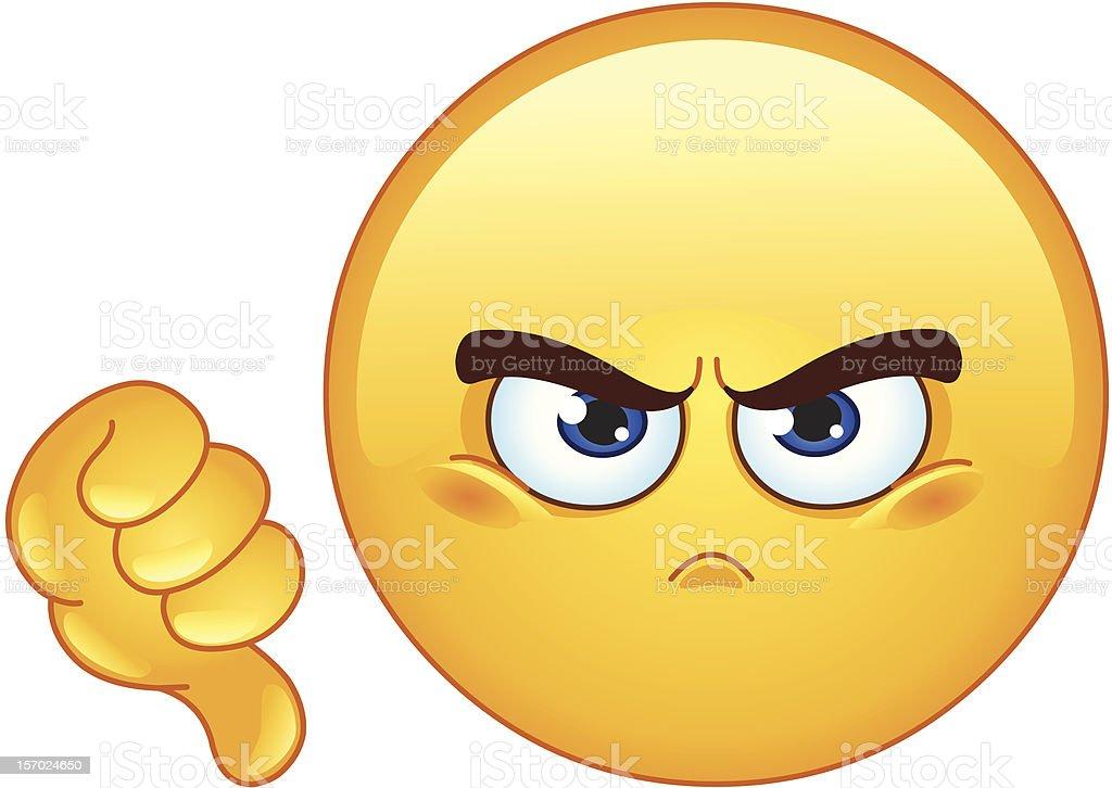 Dislike emoticono - ilustración de arte vectorial