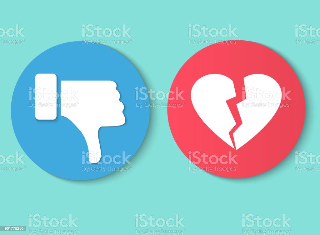 Não gosto de polegar da mão para baixo de ilustração vetorial símbolo sinal gesto. Não gosto de coração partido - Vetor de Abstrato royalty-free