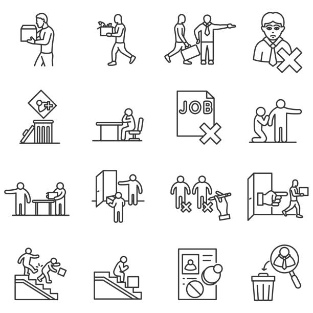 Dismissal from work icons set. Editable stroke Dismissal from work icons set. Termination of employment, thin line design. Employee departure from a job. isolated symbols collection rejection stock illustrations