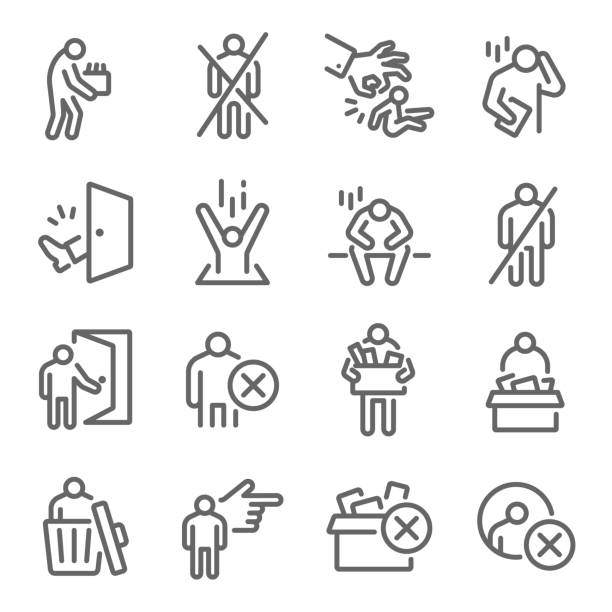 dismissal icon set vector illustration. contains such icon as lay-off, termination, unemployment, jobless, expulsion, removal and more. expanded stroke - lost stock illustrations