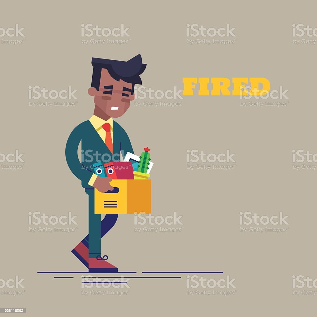 Dismissed black man carrying box with her things vector art illustration