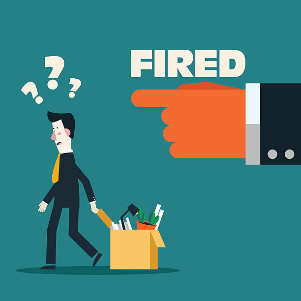 dismissed frustrated business man carrying box with her things - unemployment stock illustrations