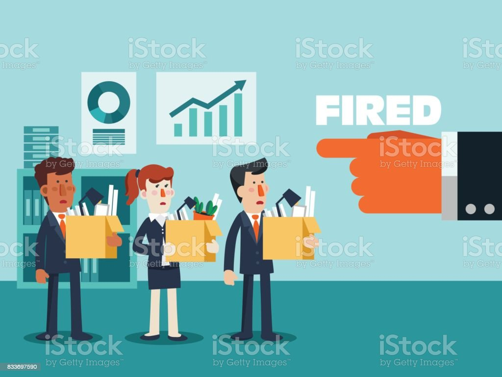 Dismissed frustrated business person holding a box with his things. Angry boss firing employee vector art illustration