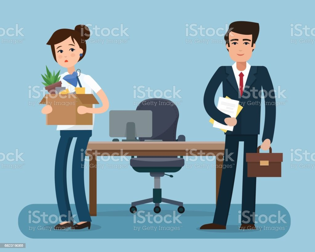 Dismissed office worker with box with office things. vector art illustration