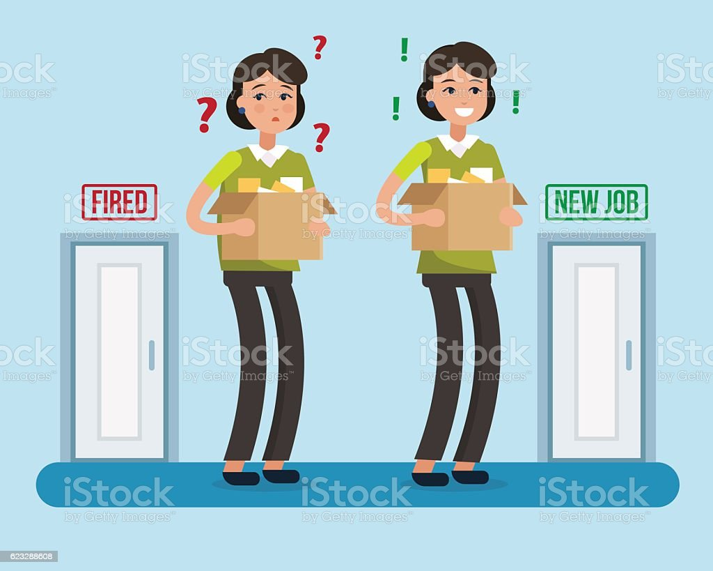 Dismissed woman. New job. vector art illustration