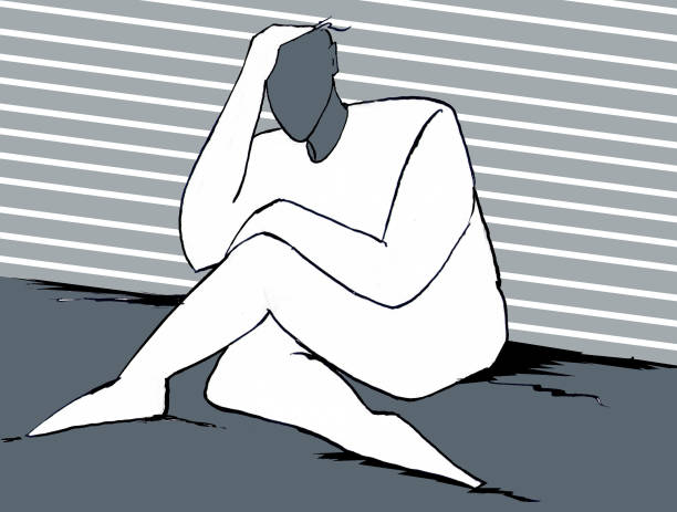 Disperazione uomo accasciato a terra con testa tra le mani chronic illness stock illustrations