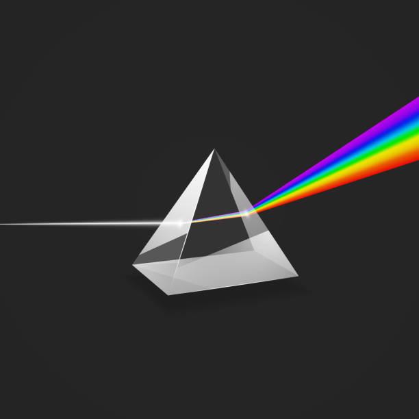 分散。光のカラフルなスペクトル。ガラスプリズムと光のビームを試してみてください。ベクターイラスト - プリズム点のイラスト素材/クリップアート素材/マンガ素材/アイコン素材