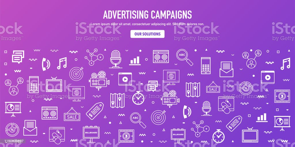 Display advertising campaigns outline style web banner design. Line...