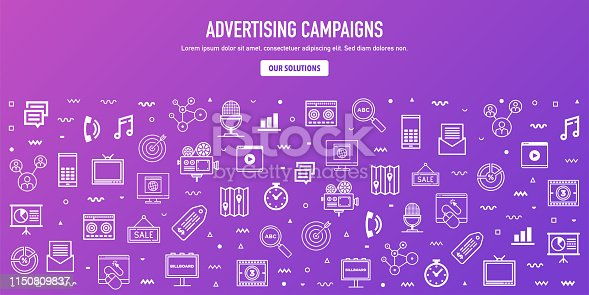 Display advertising campaigns outline style web banner design. Line vector icons for infographics, mobile and web designs.