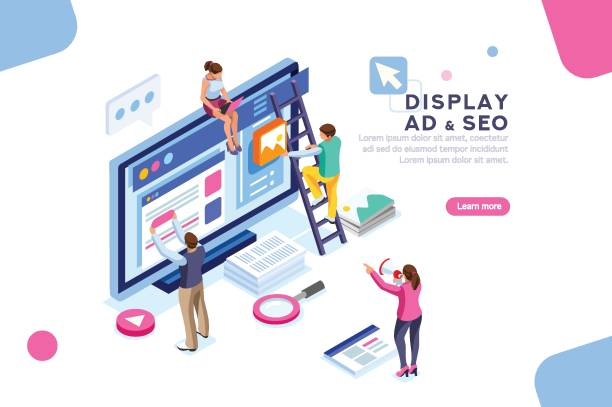 Display Campaign Flat Isometric Banner Coding people team work together. Seo optimization for target searching process. Pay click social content development tool. Flat Isometric characters vector illustration. Display campaign. seo stock illustrations