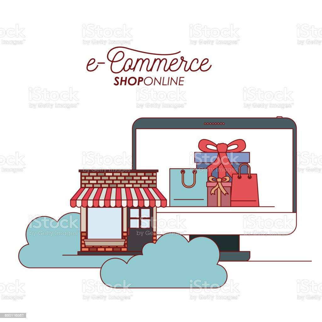Zeigen Sie Computer Mit Tapete Innerhalb Des Eingestellten Geschenk