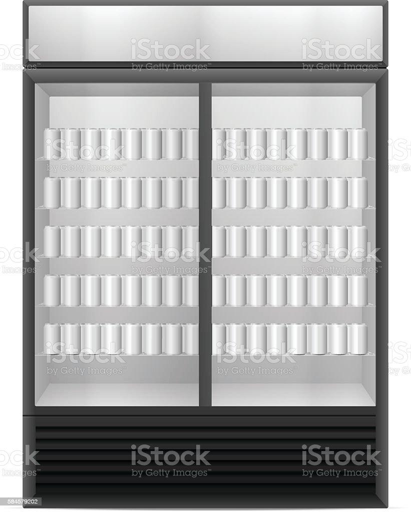 Anzeige Kühlschrank Mit Getränk Aus Der Dose Vektor Illustration ...