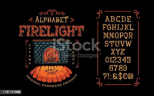 Font Firelight. Hand crafted retro vintage typeface design. Display handwritten graphic latin alphabet. Vector illustration old badge label logo tee template. Handmade upper case letters and numbers.