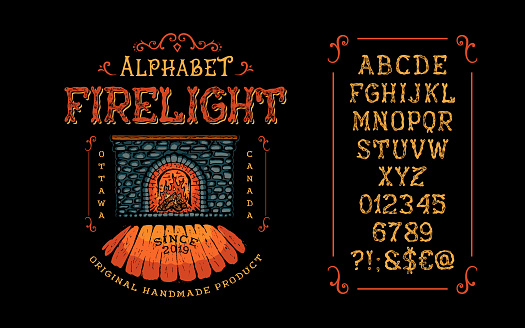 Display hand crafted vintage Font Firelight. Letter and number