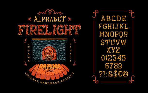 illustrations, cliparts, dessins animés et icônes de afficher à la main fabriqués vintage font firelight. lettre et numéro - polices de tatouage