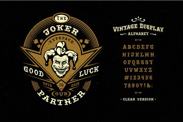 display handgefertigte vintage schrift joker. buchstaben und nummer - piratenschrift stock-grafiken, -clipart, -cartoons und -symbole