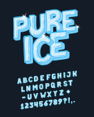 Font Pure Ice. Craft retro vintage typeface design. Fashion type. Pop modern display vector letters alphabet. Drawn in graphic style. Set of Latin characters, numbers.