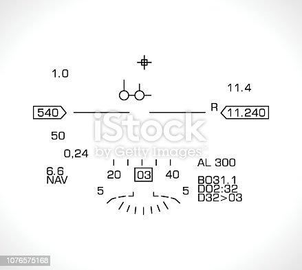 HUD display - jet fighter flight nawigation system