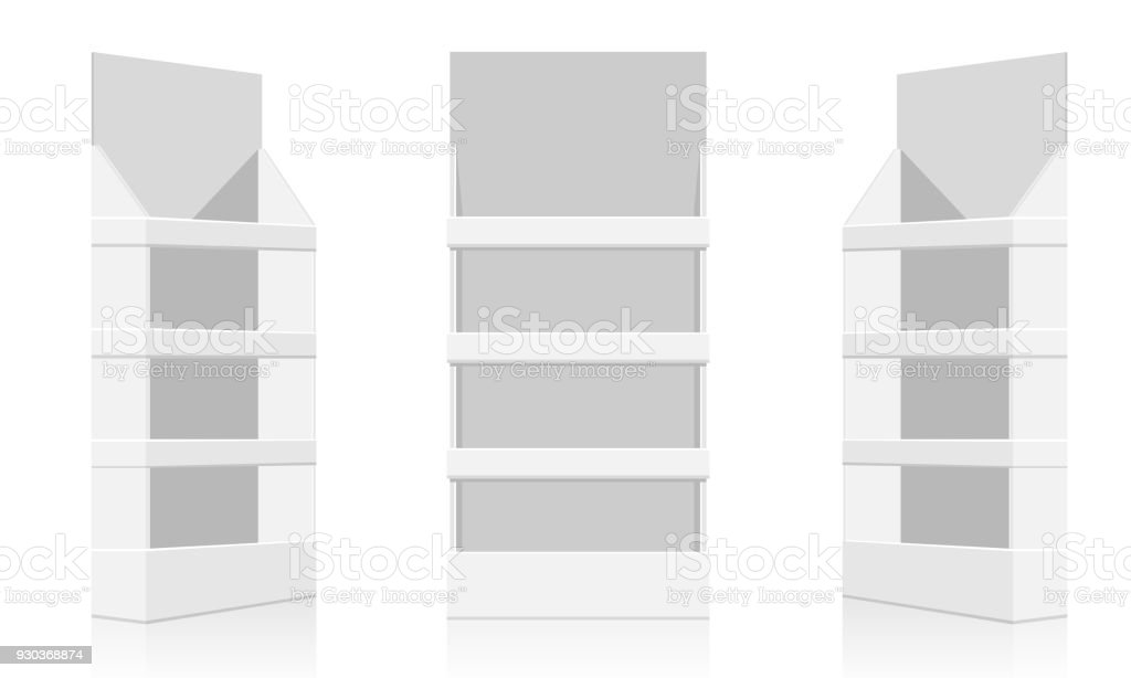 POS display mockup - front view. Flat and solid color design vector vector art illustration