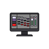 Display, monitor, audio icon. Element of color music studio equipment icon. Premium quality graphic design icon. Signs and symbols collection icon