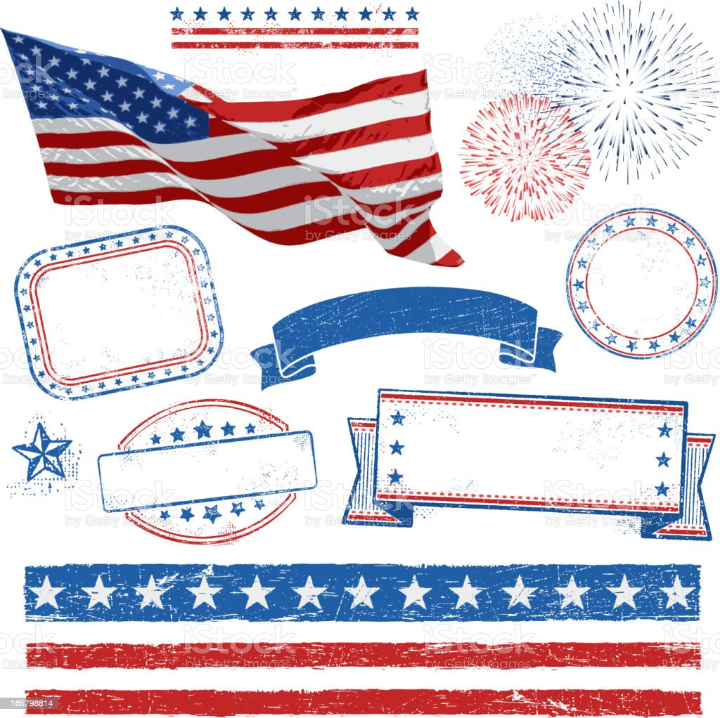 A display of design elements used for the Fourth of July vector art illustration