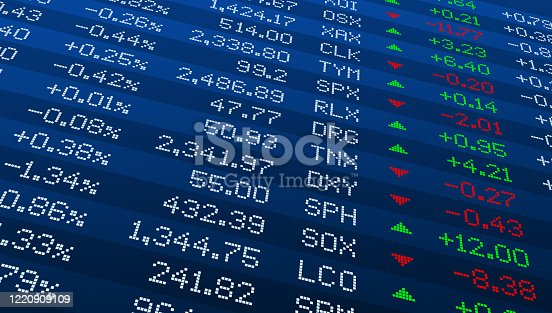 istock Display of Stock market quotes. Stock exchange board. Led digital display effect. Vector illustration. 1220909109