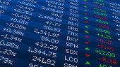 istock Display of Stock market quotes. Stock exchange board. Led digital display effect. Vector illustration. 1220909109