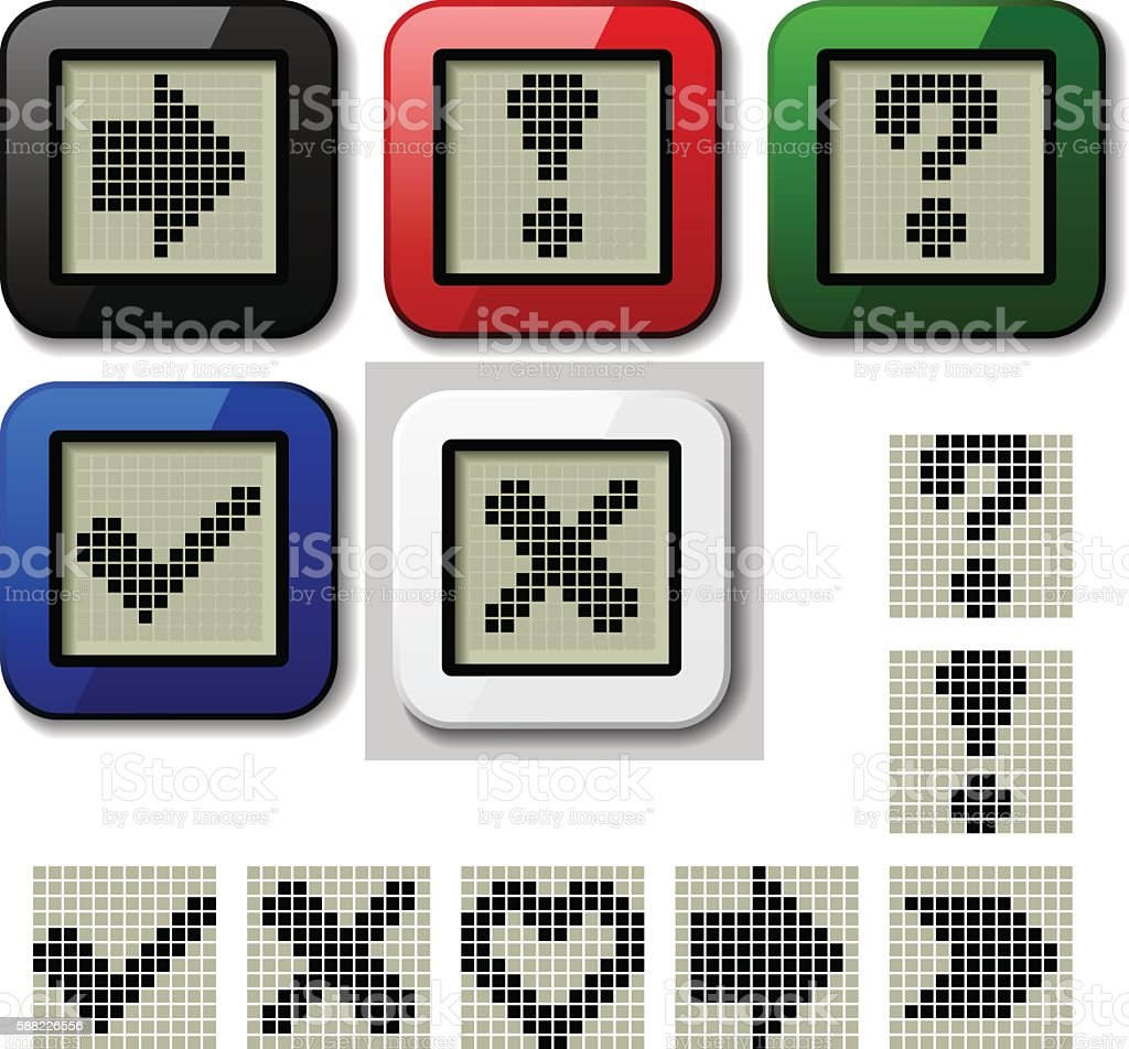 Lcd Display Pixel Symbols Stock Vector Art More Images Of Advice