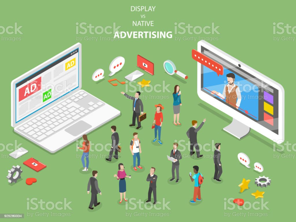 Display vs native advertising isometric vector. vector art illustration