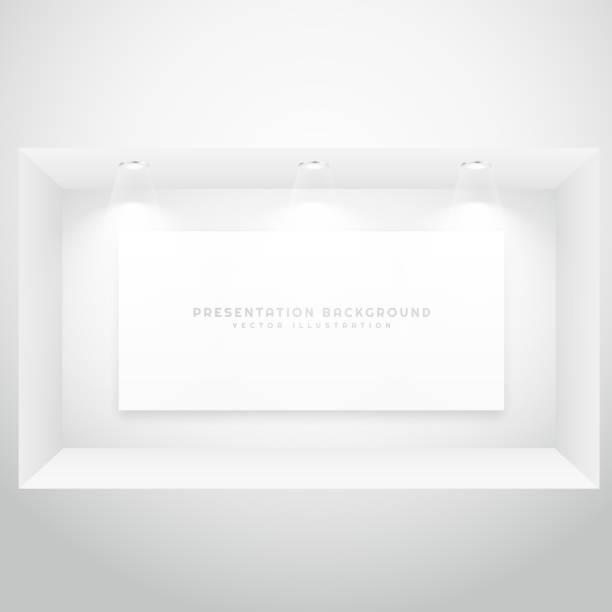 illustrations, cliparts, dessins animés et icônes de fenêtre d'affichage avec cadre photo présentation - vitrine magasin
