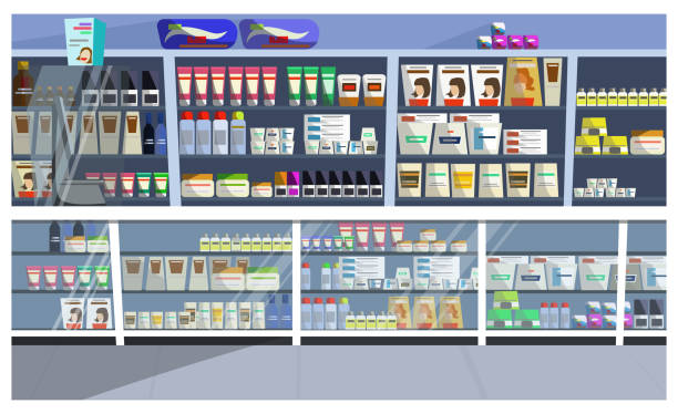 Display with hair products vector illustration Display with hair products vector illustration. Aisle, store, shelf, shampoo. Retail concept. Can be used for topics like pharmacy, supermarket, beauty care grocery aisle stock illustrations