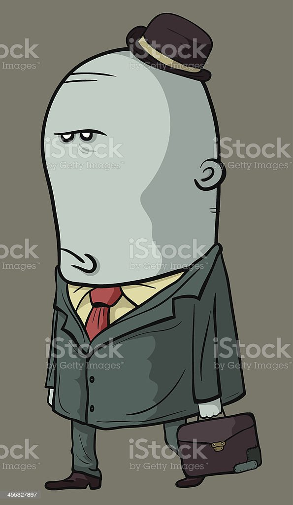 Displeased Man Finish working and Go home vector art illustration