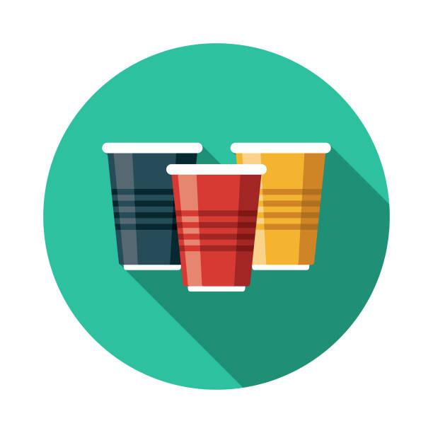 illustrazioni stock, clip art, cartoni animati e icone di tendenza di disposable beer cups flat design icon - beirut