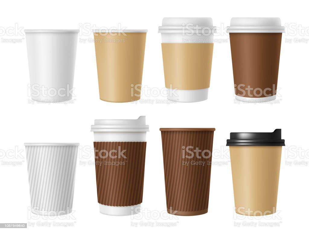 Disposable Coffee Cup Blank Vector Template Of Hot Coffee