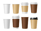 Disposable coffee cup. Blank vector template of hot coffee white paper mug. Realistic illustrations of coffee cup 3D mockup. Vector cup disposable, white and brown for tea and cappuccino