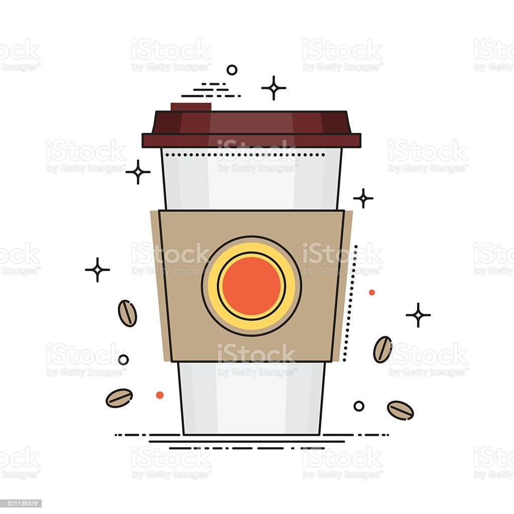 Disposable coffee cup icon with coffee beans, conceptual vector illustration vector art illustration