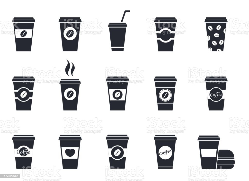 disposable coffee cup icons vector art illustration