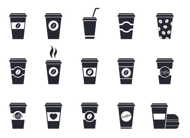 disposable coffee cup icons - junk food stock illustrations, clip art, cartoons, & icons