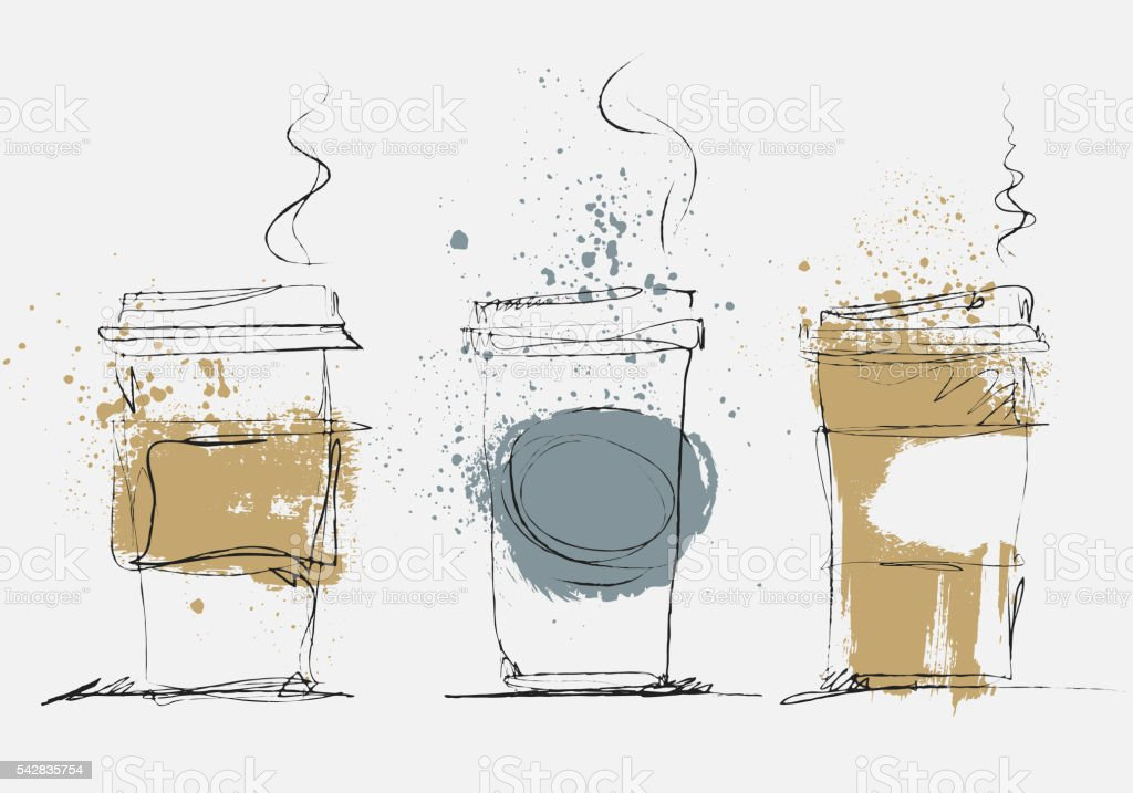 Disposable Coffee Cup, vector art sketched illustration vector art illustration