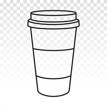 Disposable coffee paper cups line art icons for apps and websites