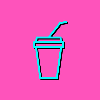 Disposable cup with drinking straw line