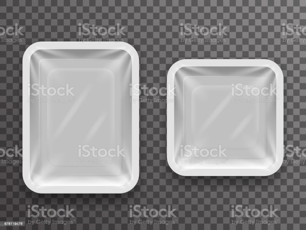 Disposable food pack isolated 3d realistic shop package box with shadow mockup transparent background design vector illustration vector art illustration