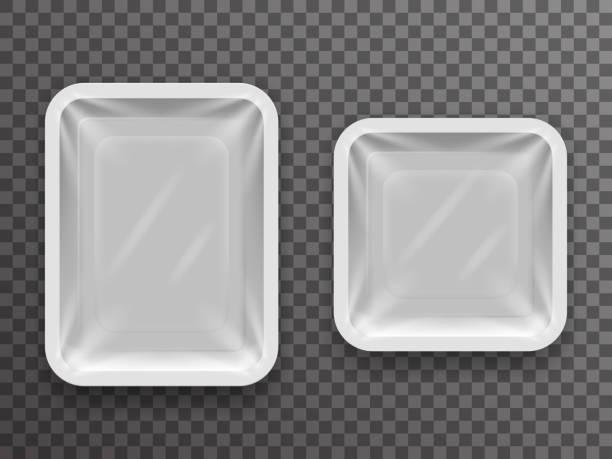 einweg-nahrung verpacken isoliert 3d realistisch shop-paket-box mit schatten-mock-up-transparenten hintergrund-design-vektor-illustration - plastikhülle stock-grafiken, -clipart, -cartoons und -symbole