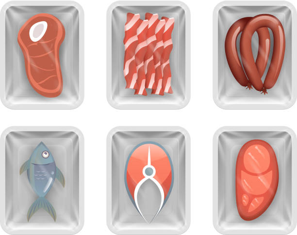 illustrations, cliparts, dessins animés et icônes de alimentaire jetable pack viande poisson saucisse bacon filet isolé magasin paquet boîte maquette design vector illustration - aliments crus