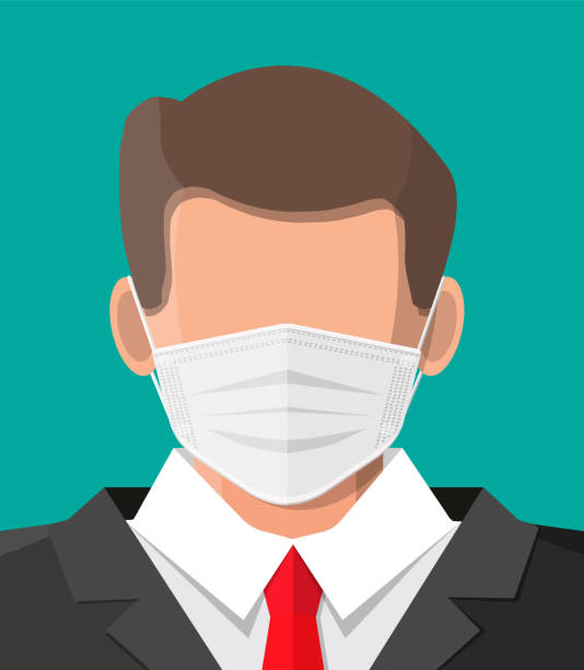 Einweg-Medizinmaske auf Person Gesicht. – Vektorgrafik