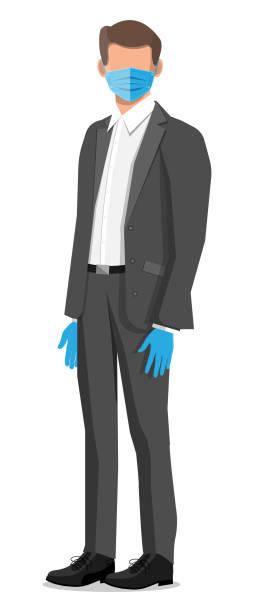 illustrazioni stock, clip art, cartoni animati e icone di tendenza di disposable medical mask on person face - businessman covid mask