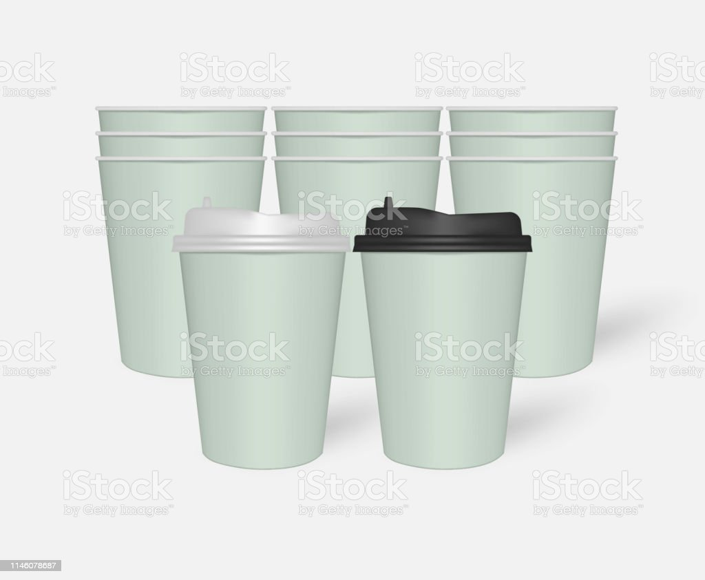 Disposable mint green color paper to go coffee cups with plastic...